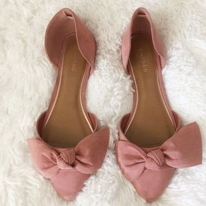 {Bamboo} Pink Bow D'Orsay Pointed Toe Flats